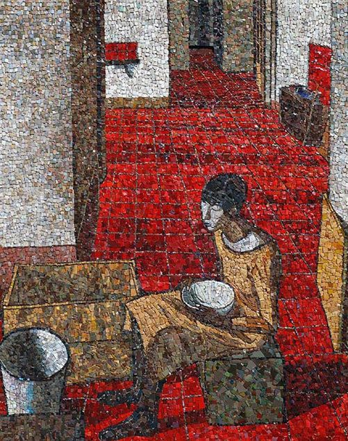 Ragazza Con Scodella-(Girl With Bowl) ~ Original artist, Felice Casorati ~ A mosaic made by Maestro Igor Maziali using marble, stone, brick, ecological smalti, Venetian smalti and limestone