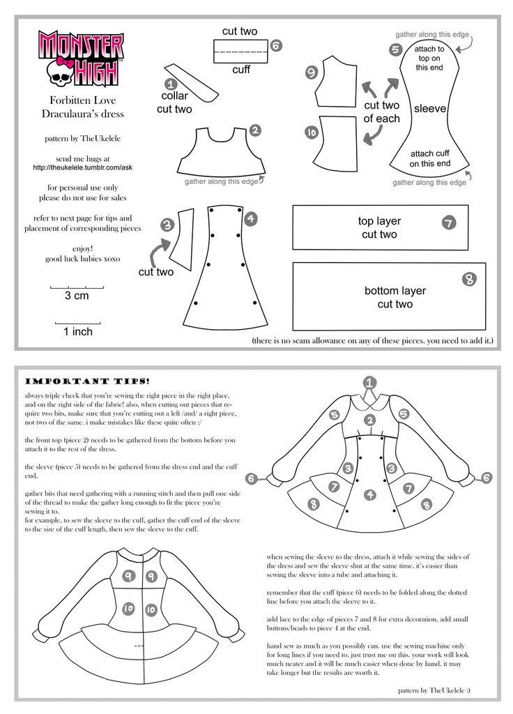 Monster High FL Draculaura dress pattern PART 1+2