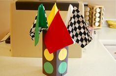Traffic light center pieces.  Kids and repurpose with real car race in yard.