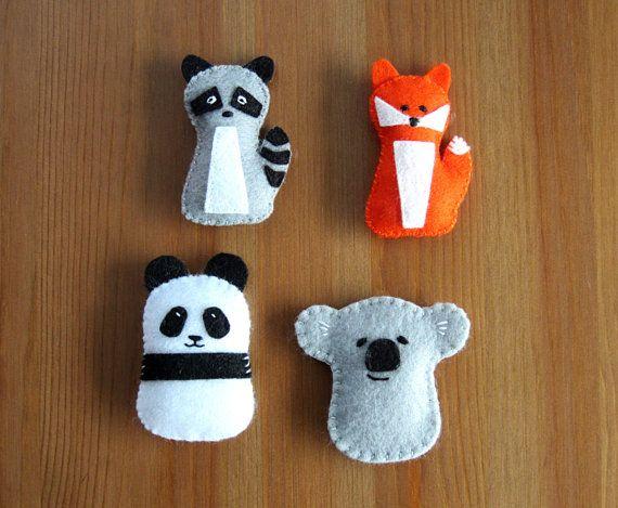 PDF pattern for a felt panda, koala, raccoon and fox! Make your own little stuffies or ornaments.