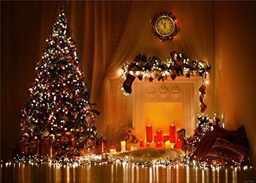 7x5ft(210x150cm) Innen Weihnachten Hintergründe für die Fotografie, Baum rot Kerzen Hintergrund weiß Wand für Neugeborene Foto Studio