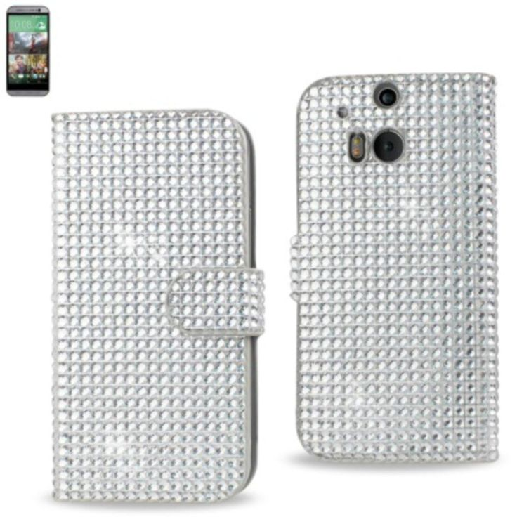 Reiko Diamond Flip Case Htc One M8 Silver