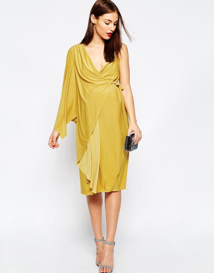 Imagen 4 de Vestido asimétrico a media pierna con diseño cruzado de ASOS Maternity