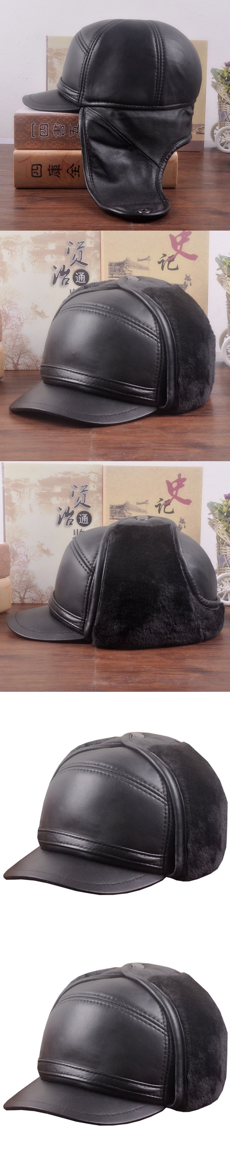 New Leather Hat Adult Winter Warm Sheepskin Cap Male Imitation Mink Earmuffs Cap Elderly Peaked Cap  New Year Gift B-7273