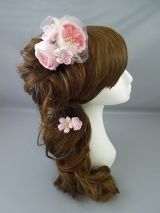 画像: [髪飾り 着物・成人式・袴・卒業式・結婚式・七五三用]バラ・桜&つまみ細工・花髪飾り ピンク&ホワイト