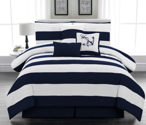 7 pcs Microfiber Nautical Comforter set Navy Blue Striped Full, Queen, King #ad