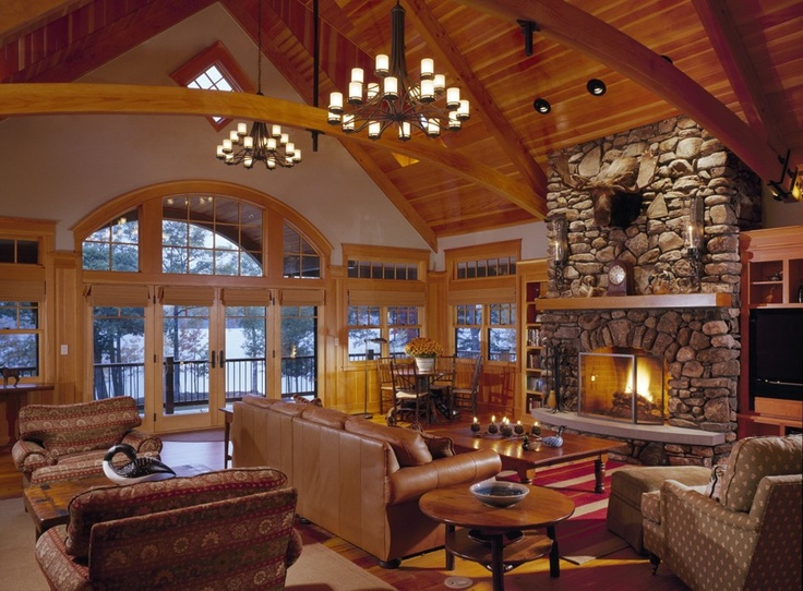 I would die for this lodge style living room.