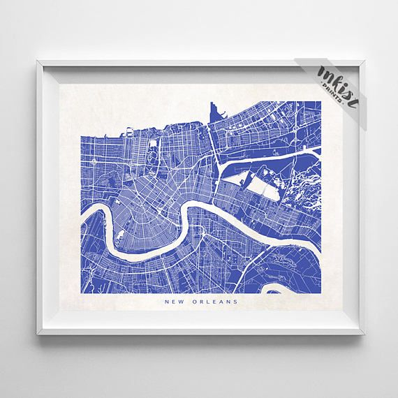 New Orleans Map Louisiana Print New Orleans Poster