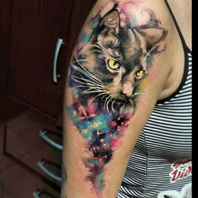 #color #cat #love #cute #watercolor #galaxy #tattoos #tattoo #tatuagem #aquerela #art #watercolor #electricink #working #franltattoo