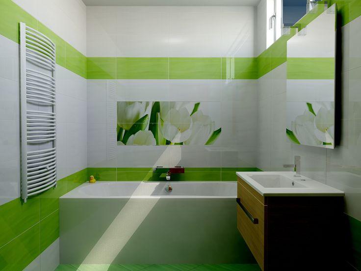 A fürdőszoba kis mérete miatt előnyös választás a Polcolorit Arco Bianco csempe, ami tágítja a teret. A Polcolorit Arco Verde zöld csempe és az azonos színű Arco Verde padlóburkolat harmóniát teremtenek. A Digital Tul4 dekor csempe egy kis természetet varázsol a kellemes hangulatú fürdőszobába. www.gsv.hu