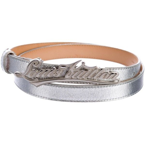 Pre-owned Louis Vuitton Metallic Logo Belt ($245) ❤ liked on Polyvore featuring accessories, belts, metallic, 100 leather belt, real leather belts, louis vuitton belt, louis vuitton and logo belts