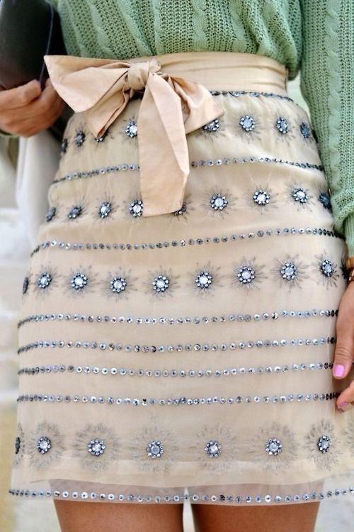 Embellished chiffon skirt worn with knitwear