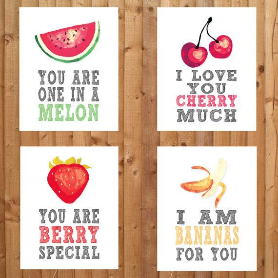 Fruit themed nursery prints. You are one in a melon, I love you cherry much, I love you berry much, You are berry special, I am bananas for you. Buy 3 or more and save! - http://www.diyhomeproject.net/fruit-themed-nursery-prints-you-are-one-in-a-melon-i-love-you-cherry-much-i-love-you-berry-much-you-are-berry-special-i-am-bananas-for-you-buy-3-or-more-and-save