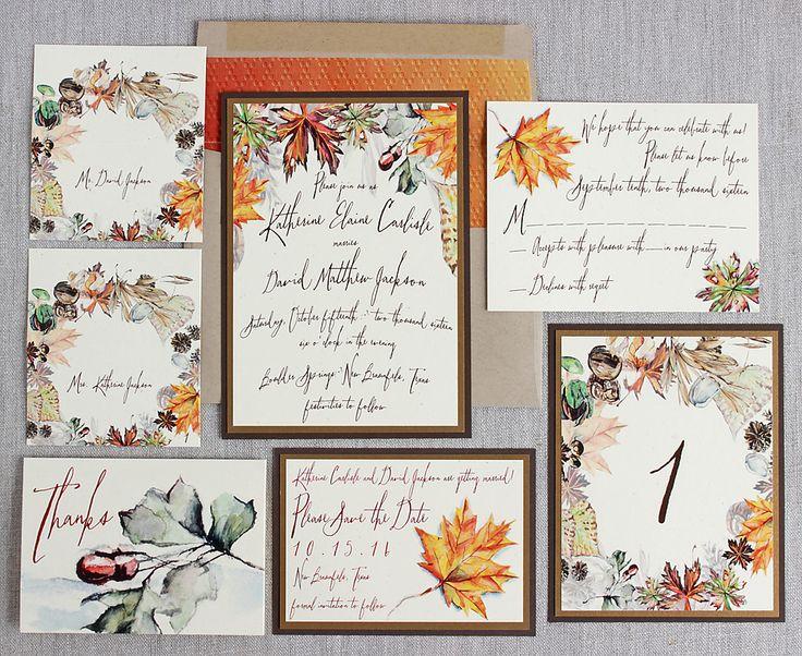 Autumn Foliage Watercolor Wedding Invitation Suite | Sunshine and Ravioli