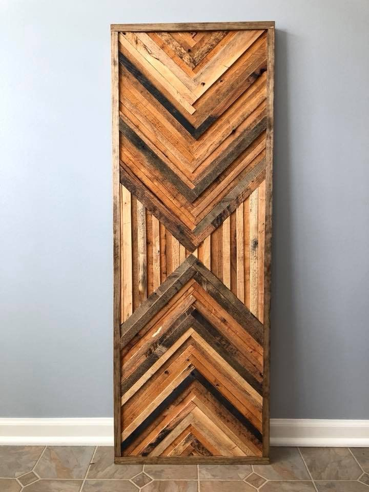 Geometric Chevron Wood Wall Art Decor In 2020 Wood Wall Art Wood Wall Art Decor Reclaimed Wood Wall Art
