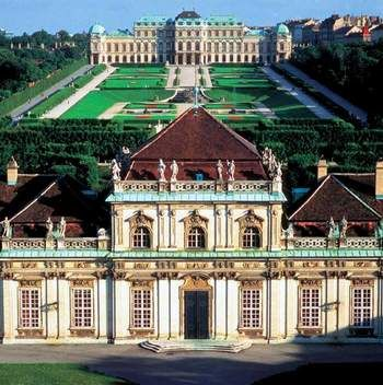 Belvedere Palace, Vienna, Austria- Two separate palaces divided by gardens. The…