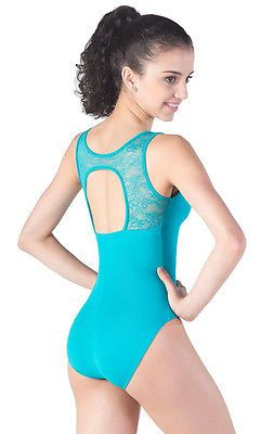 NEW DANCE BODYSUIT LEOTARD Black LACE Back L892 Micro Fiber AXS L-892