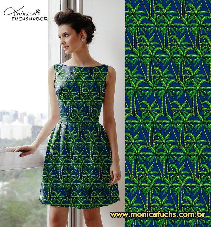 Vestido com estampa Palmeiras by Mônica Fuchshuber