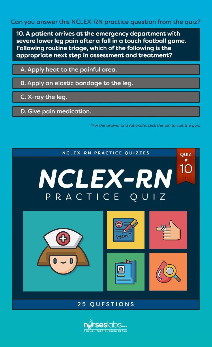 NCLEX-RN Practice Exam #10 (20 Questions)  For answers: http://nurseslabs.com/nclex-practice-exam-10-20-questions/