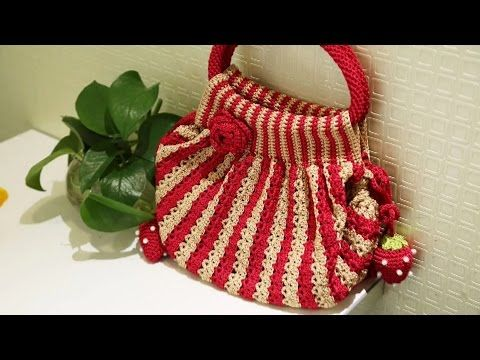 How to Crochet Bag:Watermelon striped bag 1/4 - YouTube