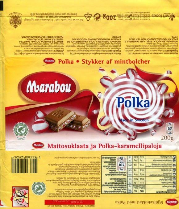 Marabou, Polka, milk chocolate with pieces of mint-caramel, 200g, 26.11.2011, Kraft Foods Sverige, Sweden