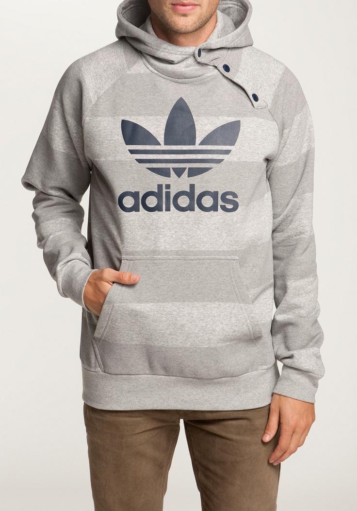 ADIDAS Style Trefoil Hoodie grey-lightgrey-striped