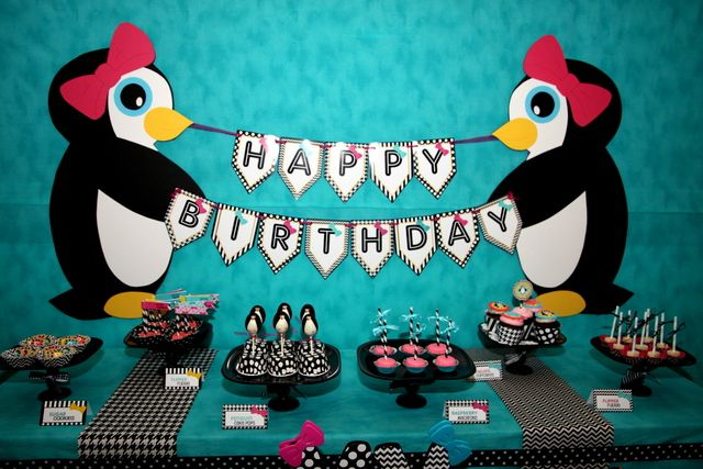 Dessert Table at a Penguin Party #penguin #partytable