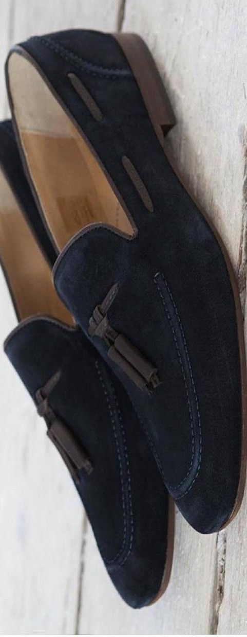 H By Hudson Pierre Retro Navy Suede Loafer   LBV ♥✤   KeepSmiling   BeStayHandsome