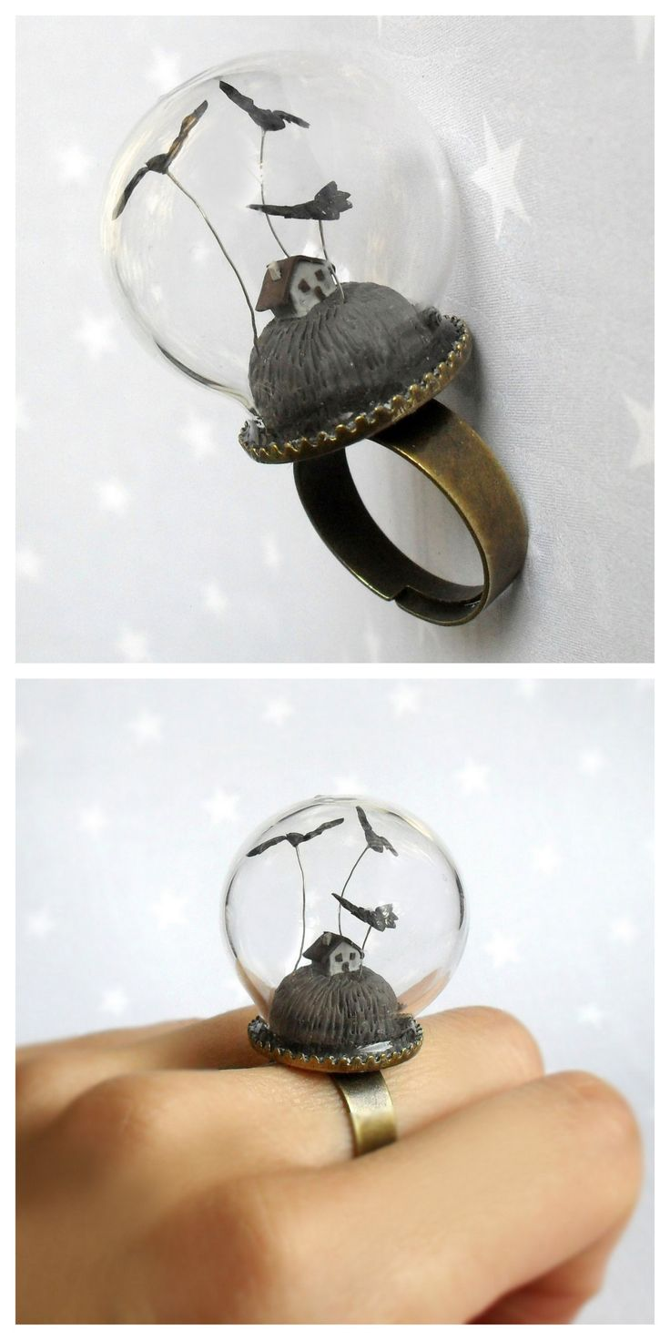 DIY Halloween Snow Globe Ring Inspiration from Etsy User HoKiou.This is a BUY or DIY Inspration post for a DIY Halloween Snow Globe Ring. For more unique DIY Halloween Jewelry go here: halloweencrafts.tumblr.com/tagged/jewelry • BUY: This ring from...