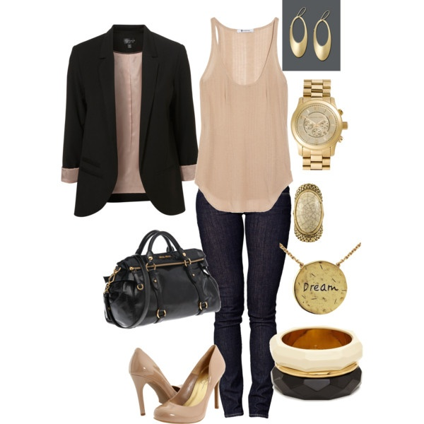 And the black blazer completes the look., created by yjmunson.polyvore.com