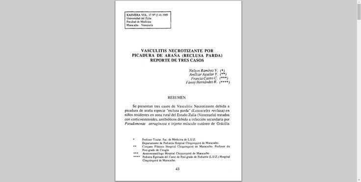 VASCULITIS NECROTIZANTE POR PICADURA DE ARAÑA (RECLUSA PARDA) REPORTE DE TRES CASOS