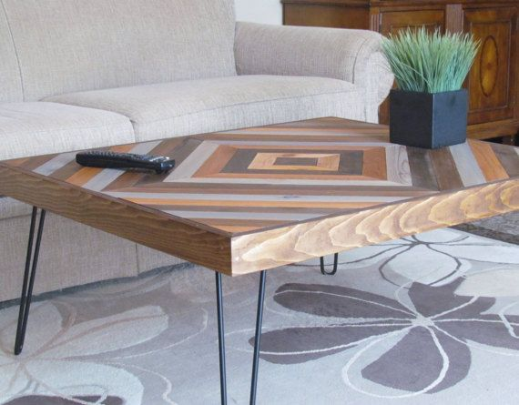 Wood Chevron Coffee Table Rustic Coffee Table by LakefrontWoods
