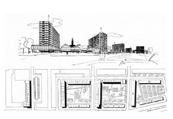Jacob Bakema, ulica handlowa Lijbaan, Rotterdam, 1955. Nowa struktura w zrujnowanym Centrum.