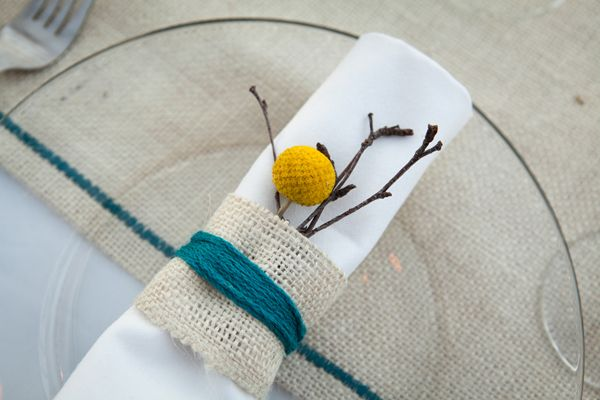 Billy Ball Yarn and Burlap Napkin ring