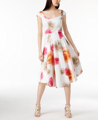 8955781a7a6 Calvin Klein Cotton Floral-Print Midi Dress