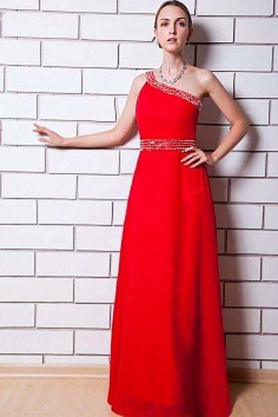 Chiffon Sheath/Column One-shoulder Graduation Dress sfp1435 - http://www.shopforparty.com/chiffon-sheath-column-one-shoulder-graduation-dress-sfp1435.html - COLOR: Red; SILHOUETTE: Sheath/Column; NECKLINE: One-shoulder; EMBELLISHMENTS: Beading , Sequin; F