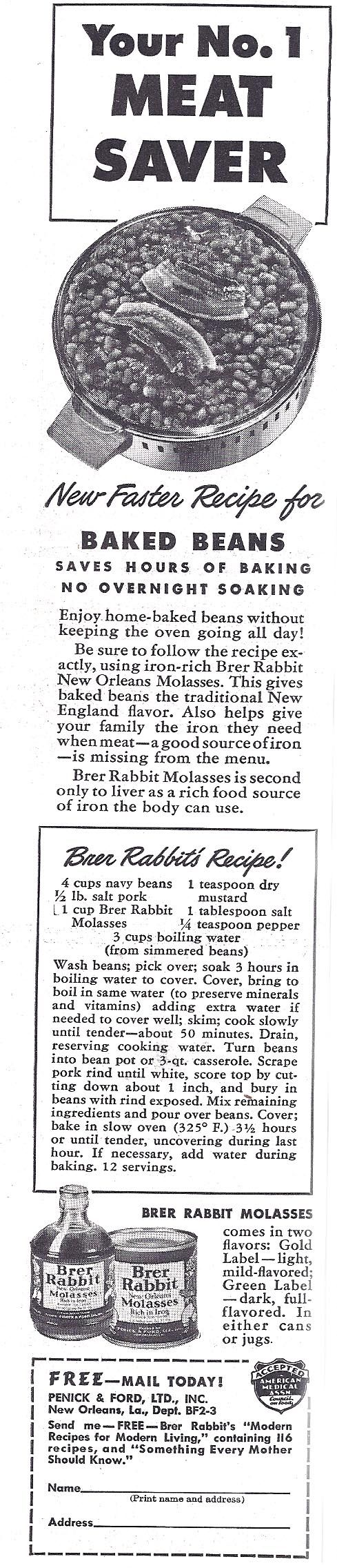 1943 recipe for Brer Rabbit Baked Beans During World War II, food-related advertising was all about saving money and making the most of ration coupons.