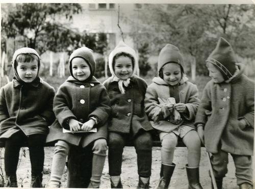 soviet children: four girls and a boy