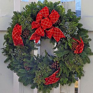 Elegant Red Noble Fir Christmas Wreath