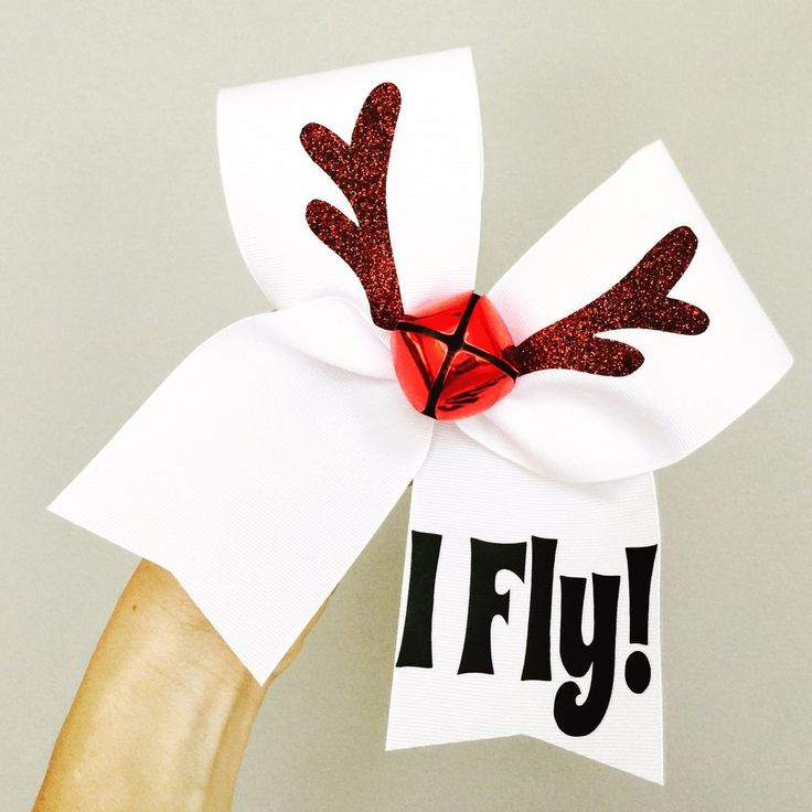 Reindeer Jingle Bell Flyer I Fly Cheer christmas Bow