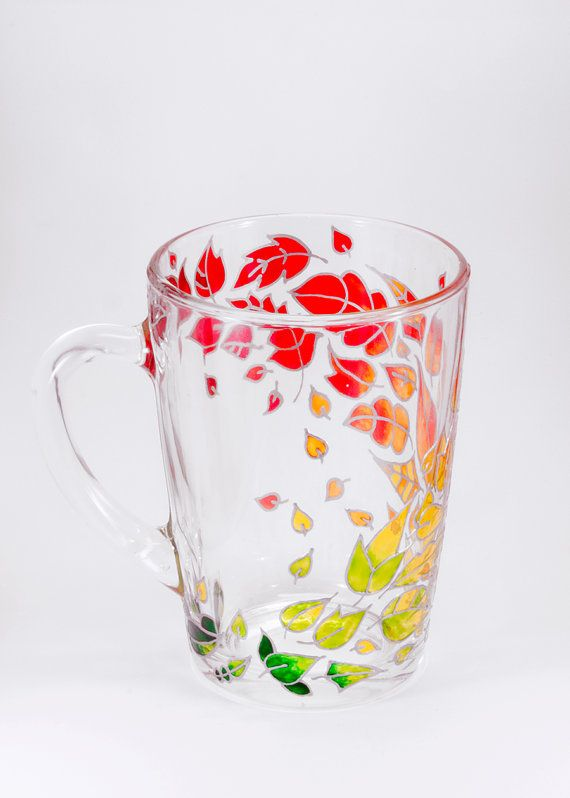 Autumn Leaves Fall Mug — Beautiful Hand Painted Coffe Mug for the Perfect Gift…