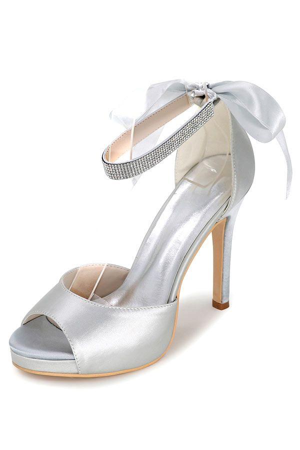 Femmes fête de mariage talon chaussure soirée sandale strass bleu royal satin nouveau