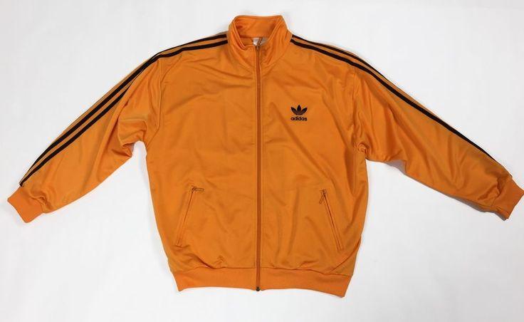 Adidas felpa tuta vintage D6 F180 L arancione usato uomo track suit sport T1587