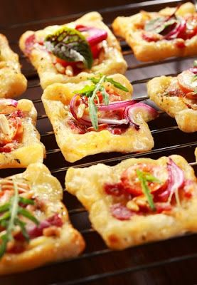 simple and super easy baby shower food ideas, dessert inspirations - Puff pastry with cheese, tomato and vegetables