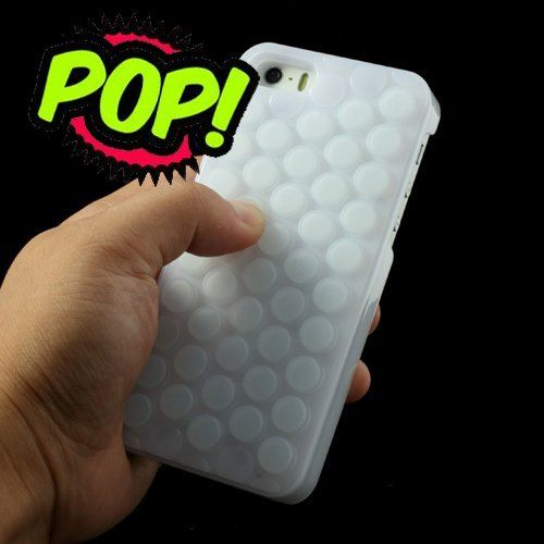 Blogger Cute Decompression Bubble Wrap Shell Puchi Puchi Soft Silicone Phone Case for Apple Iphone 6-4.7inch (White)