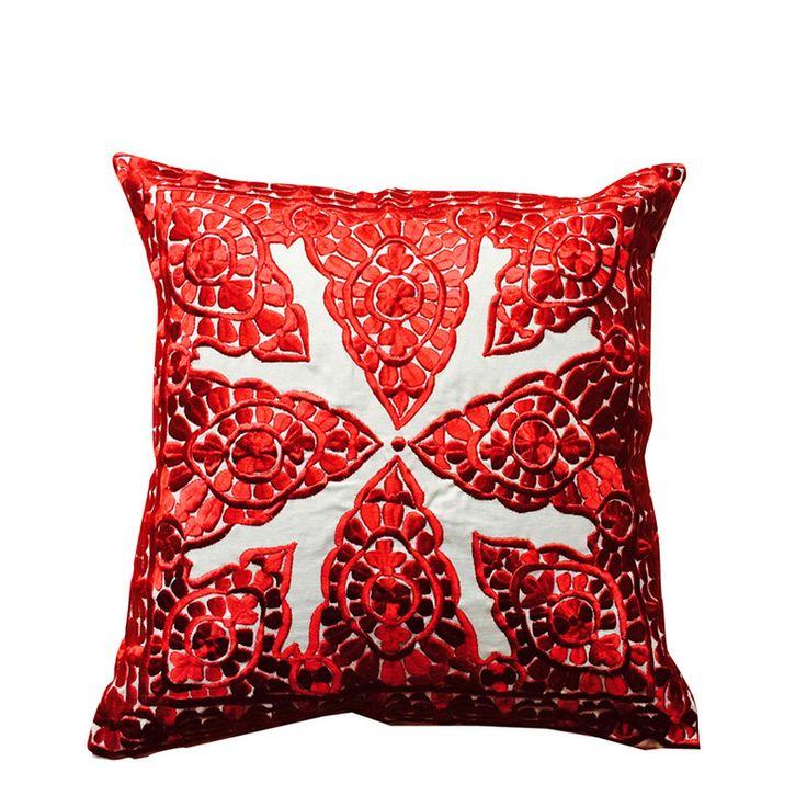 "Cushion ""Broderie de Rabat"" Red"