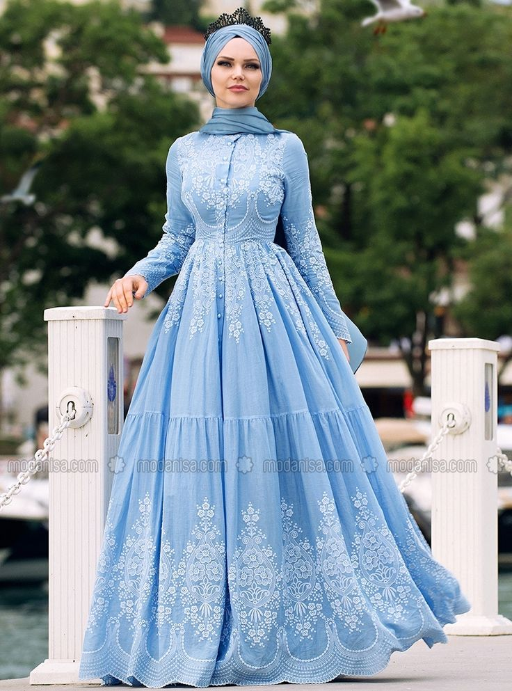 Pamuklu Elbise - Bebe Mavi - Muslima Wear