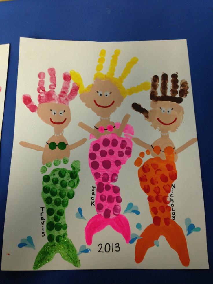 Footprint/handprint mermaids!