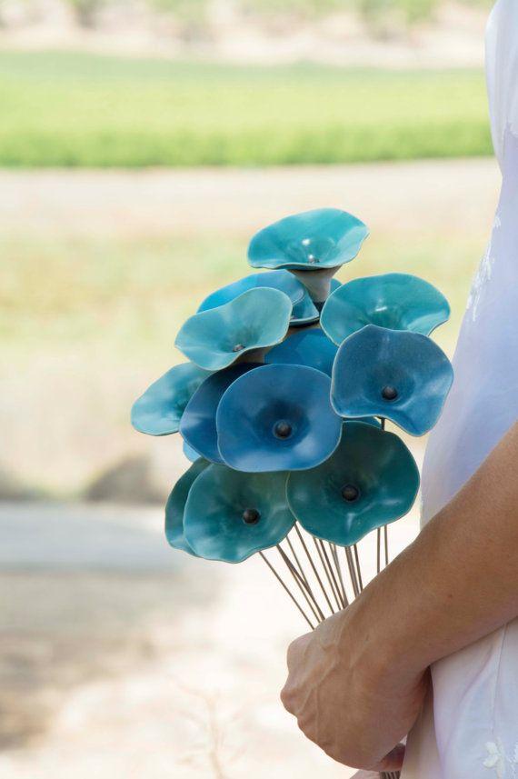 Jardín decoración al aire libre azul flor de cerámica azul