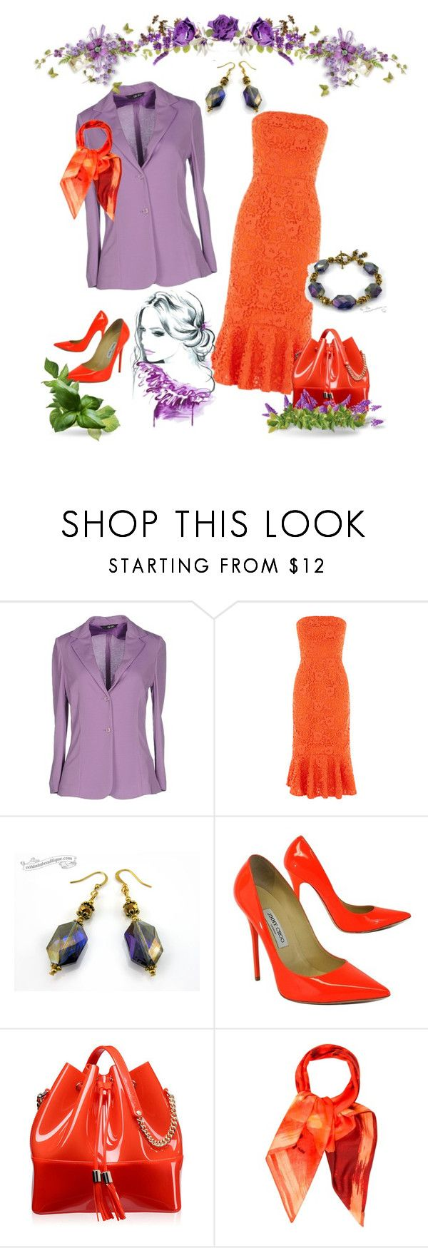 """Orange Purple Summer Outfit"" by ooh-la-la-beadtique ❤ liked on Polyvore featuring LIU•JO, Warehouse, Jimmy Choo, Kartell and Valentino"